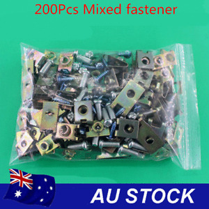200x Mixed Metal Fasteners Screws Car Body Door Fender Panel Repair U Nuts Clips