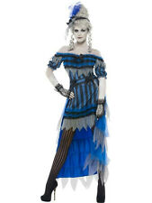 Women's Ghostly Saloon Girl Costume with Dress Overskirt and Headband Size Small