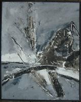 ::KOMPOSITION IN GRAU °ÖLGEMÄLDE MODERN ART °RAHMEN AUS GALERIE °ABSTRAKT /LQN