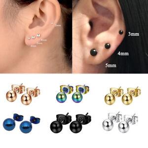 8PCS 2-8mm Mini Unisex Stainless Plain Steel Ball Ear Studs Upper Ear Earrings