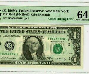"""$1 """"DARK GHOSTING ERROR""""  1969-A """"FRONT GHOSTING ERROR""""  (GRADED C/U/64) NICE!!!"""
