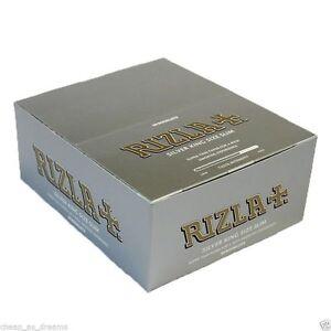 RIZLA SILVER KING SIZE SLIM  CIGARETTE  ROLLING PAPERS ORIGINAL full box 50