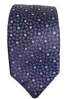 Current Ermenegildo Zegna Blue with Purple Flower Design Silk Tie Made in Italy