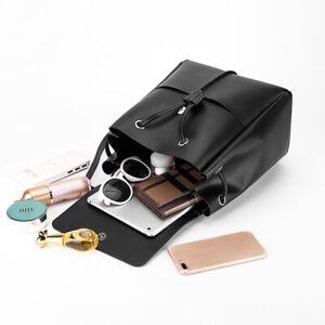 Black Leather Travel Backpack Women Shoulder Bag Mini Small Cute Girl