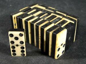 Antique Civil War Era Bone & Ebony DOMINOES Brass Pin 28 Full Set