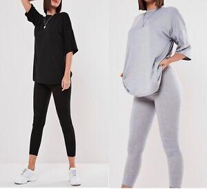 Womens Ladies Stripe T Shirt Leggings Bottoms 2 Piece Lounge wear Tracksuit Set
