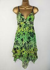 Jane Norman Dress 10 Floaty Handkerchief hem Strappy Summer Green Stretchy  3a15