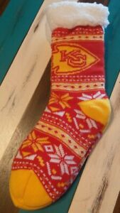 Kansas City Chiefs Holiday Footy Slippers Non Skid Women's Size 6-10 Men's 5-9