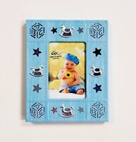 """Cherie & Kalvin Blue & Silver Baby Photo Frame Holds 2x3"""" Picture Rocking Horse"""