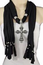 Women Black Soft Fabric Scarf Long Fancy Fashion Necklace Cross Beads Pendant
