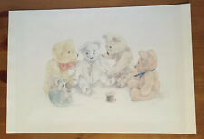 Teddy Bears Fixing a Friend Drawing Print [ONLY PICTURE, NO FRAME]