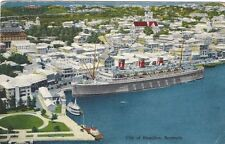 1956 postcard - City of Hamilton, Bermuda. Cruise ship at dock.
