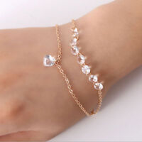Fashion Women Multilayer Rhinestone Crystal Bracelet Bangle Cuff Jewelry Gift