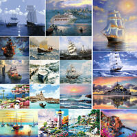 DIY Boat Seascape Paint By Number Kit Oil Painting Acrylic Canvas Home Art Decor