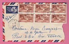 Sur Env. Par Avion - CAD SAIGON Viet Nam du 15-4-1952 sur bloc de 6 timbres