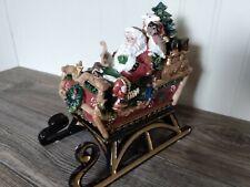 Fitz & Floyd Musical Christmas Lodge Sleigh Here Comes Santa Claus Music Box