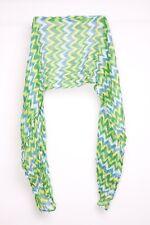 Funky Everyday Ladies Green&Blue Herringbone Pattern Artsy Light Scarf (S349)