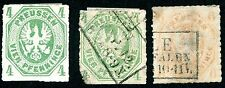PRUSSIA (GERMANY) 1861-67 USED & UNUSED SCOTT 15, 15a, 16 POSTAGE STAMPS
