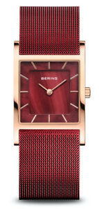 Bering Time - Ladies Classic Square Watch Pink w/ Red Dial & Mesh Band 26mm