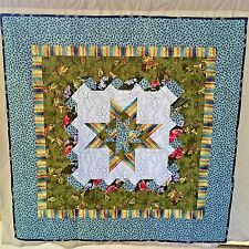 """Star in Star with Ribbons Quilt 50"""" x 50"""" Wall Hanging or Throw Handmade"""