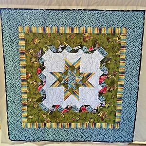 "Star in Star with Ribbons Quilt 50"" x 50"" Wall Hanging or Throw Handmade"