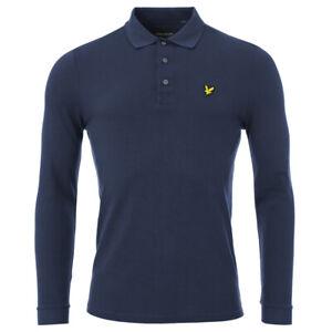 Mens Navy Blue Lyle& Scott Cotton Piquet Long Sleeve T-shirt Polo Top
