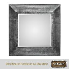 Square Wall Mirror Bevelled Decorative Metal Croc Pattern Design Silver Black