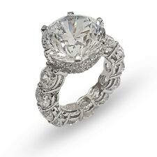 Solid 925 Sterling Silver 10ct Round Handmade CZ Cocktail Party Ring for Women