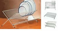 Foldable Chrome Kitchen Sink Folding Dish Drainer Washing Up Plate Cups Dry Rack