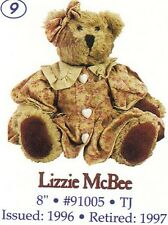 """BOYDS PLUSH COLLECTION """"LIZZIE MCBEE"""" 91005 MINT IN BAG"""