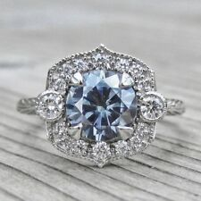Certified 2.15Ct Blue Round Cut Engagement Wedding Ring In 14Kt White Gold.
