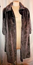 Vintage antique women's coat Modelia long fake fur size large dark gray black