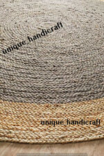 Natural Jute Braided Rug Round Area Rag Hardwood Floors Woven Rug 60x60 Cm