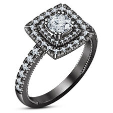 Diamond Ring 14K Black Gold Finish Women's Valentine's special 1.5 Ct Round Cut