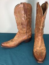 Used Lucchese Soft Brown Leather Embroidered Womens Cowgirl Western Boots 8.5 B