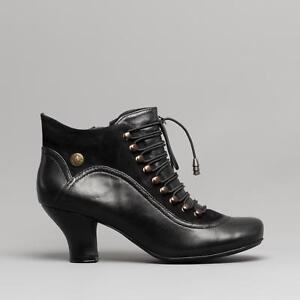 Hush Puppies VIVIANNA Womens Ladies Leather Vintage Lace/Zip Ankle Boots Black
