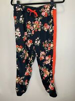 LuLaRoe M Jax #2152 - Jogger Sweat Pants - Flowers on Black with Orange Trim