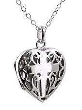 Cross in Heart Filigree Locket Necklace - 925 Sterling Silver Openwork Gift NEW