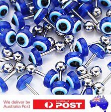 1 Par of 10mm Evil Eye Studs Earrings Protection Charm Stone Ear Pendant Labret