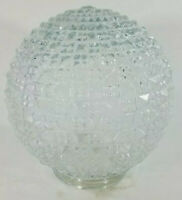 "VTG Mid Century Clear Textured Molded Glass Globe Light Swag Geometric 4"" Fit"