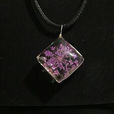 Flores secas Lila Diamante Colgante Collar Joyería De Resina Idea de Regalo para Ella