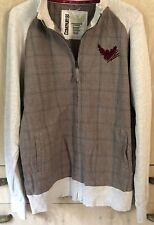Men's Company 81 Vintage Distressed Plaid & Jersey Full Zip Jacket ~ XXL