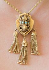 Victorian Solid 14k Yellow Gold Shield Turquoise Tassel Slide Pendant