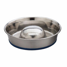 OurPets Durapet NO SKID SLOW FEED Stainless Steel Food DOG Bowl Small