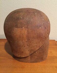 Antique Vintage Primitive Wood Block HEAD HAT MOLD Display Millinery Form