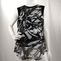 Vince Camuto Womens Blouse Black White Graphic Print Overlay Sleeveless Top Sz M