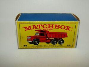 Matchbox Empty Original Box No 48 Dodge Dumper Truck E4 Box Near Mint