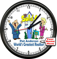 Personalized Your Name World's Greatest Real Estate Realtor Gift Sign Wall Clock