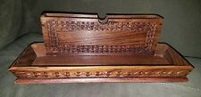 Vintage Attractive Wooden Desk Caddy with Hand Carved Design 12 x 5 1/2""