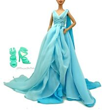 Barbie Fashion Model Collection Silkstone Blue Chiffon Ball Gown New NO DOLL